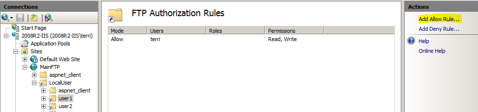 FTP Authorization Rules