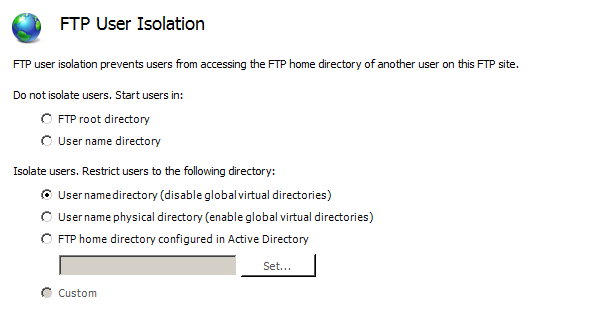 FTP User Isolation