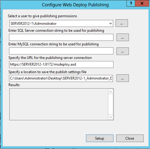 WebDeploy Configuration Settings
