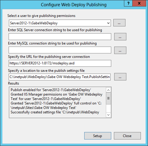 Configure WebDeploy Publishing