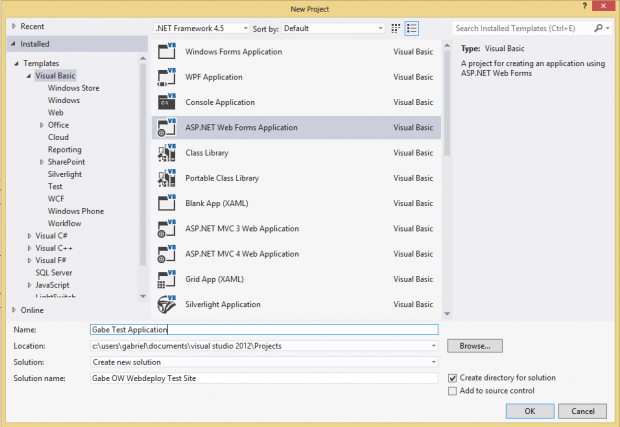 ASP .NET Web Forms Application in Visual Studio 2012