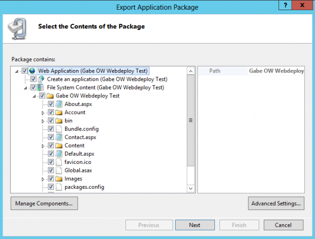 IIS Export Application Package