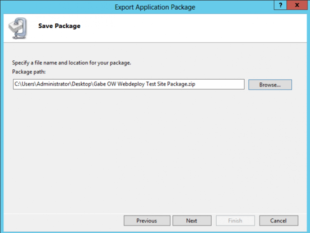 IIS Export Application Package Save Package