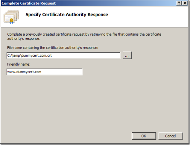 Specify Certificate Authority Response - IIS Manager