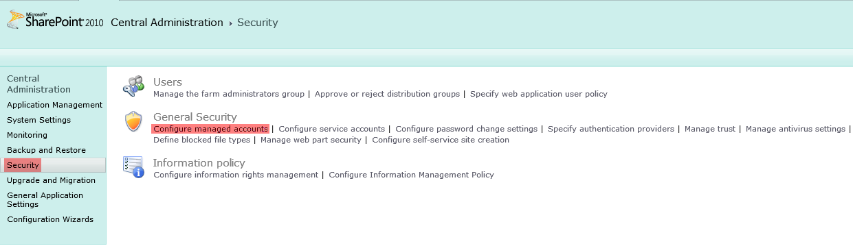 Sharepoint 2010 Central Administration Security