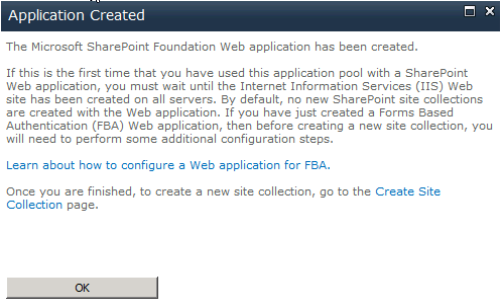 Sharepoint Application Created