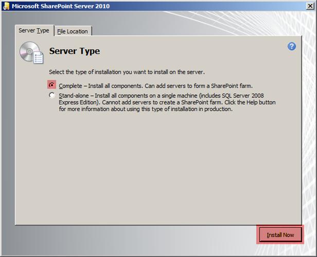 Sharepoint Server 2010 Server Type