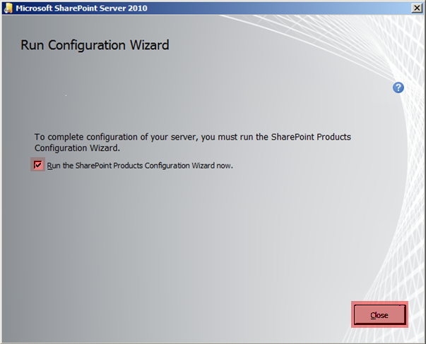 Microsoft Sharepoint 2010 Configuration Wizard