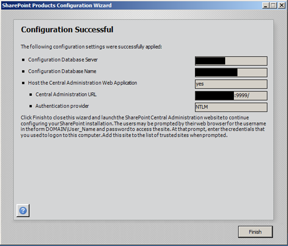 Sharepoint 2010 Configuration Successful
