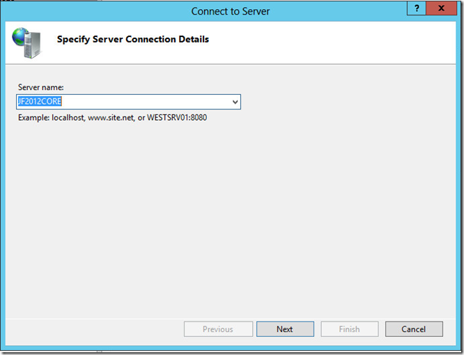 Specify Server Connection Details