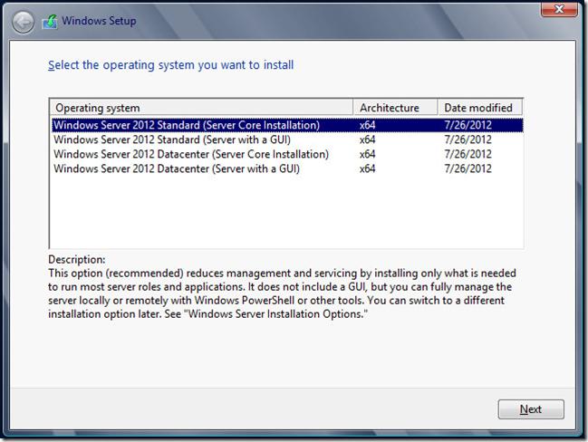 Windows 2012 Server Core