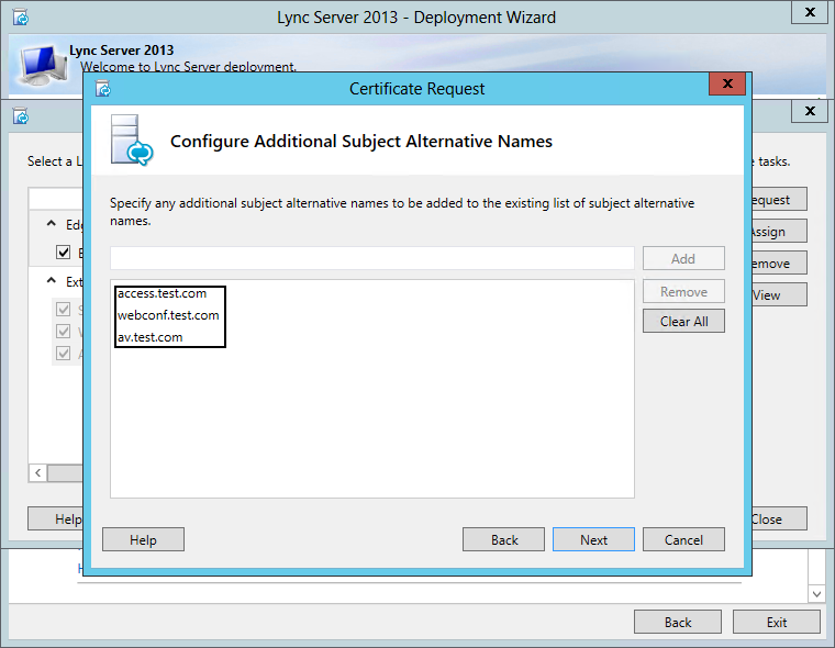 Configure Additional Subject Alternative Name