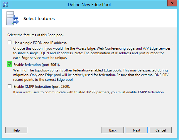 Define New Edge Pool - Select Features