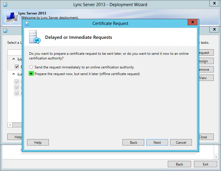 Lync Server 2013 Certificate Request