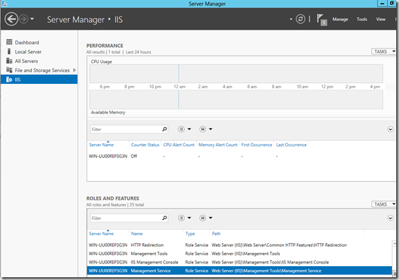 IIS Roles and Features