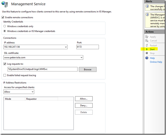 Windows Credentials and IIS Manager Credentials