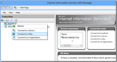 IIS Manager Connect to a Site