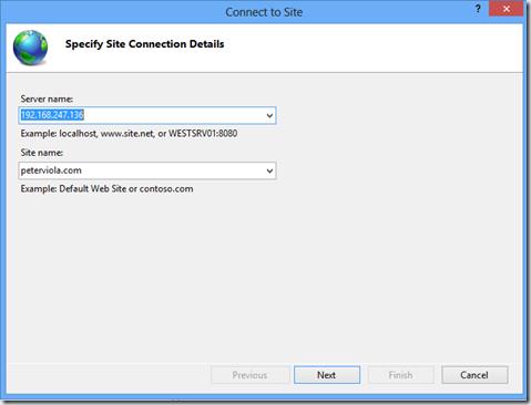 Specify Site Connection Details