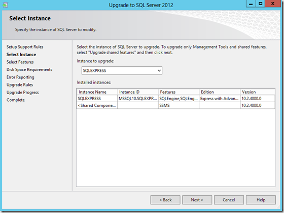 SQL Server 2012 Upgrade - Select Instance