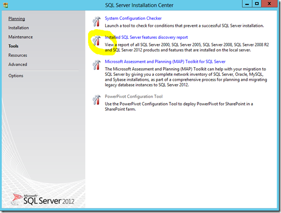 SQL Server Installation Center Report