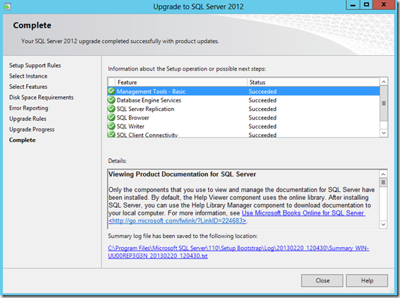 SQL Server 2012 Upgrade Complete