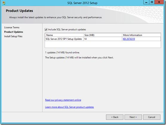 SQL Server 2012 Product Updates